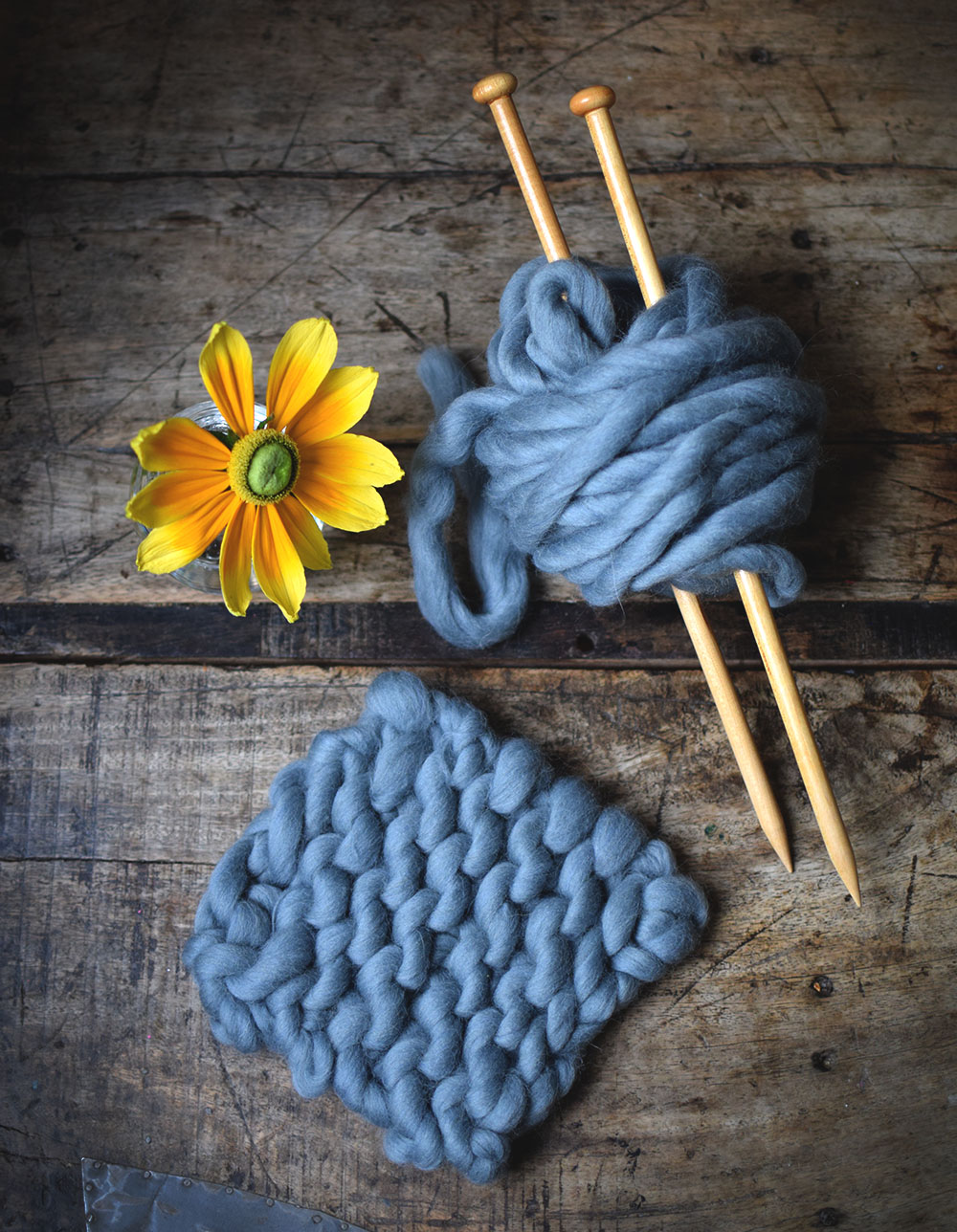 sticka med chunky wool